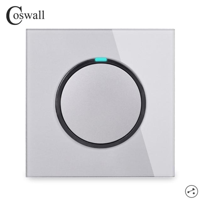 Interruptor de luz de pared Coswall 1 Gang 2 Way aleatorio clic en/apagado con indicador LED pasa a través del interruptor de Panel de vidrio conmutado gris