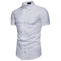 Men Shirt Washing Wrinkle Double Placket Solid Color Fashion Large Body Design MEN'S Short sleeved Shirt DC05