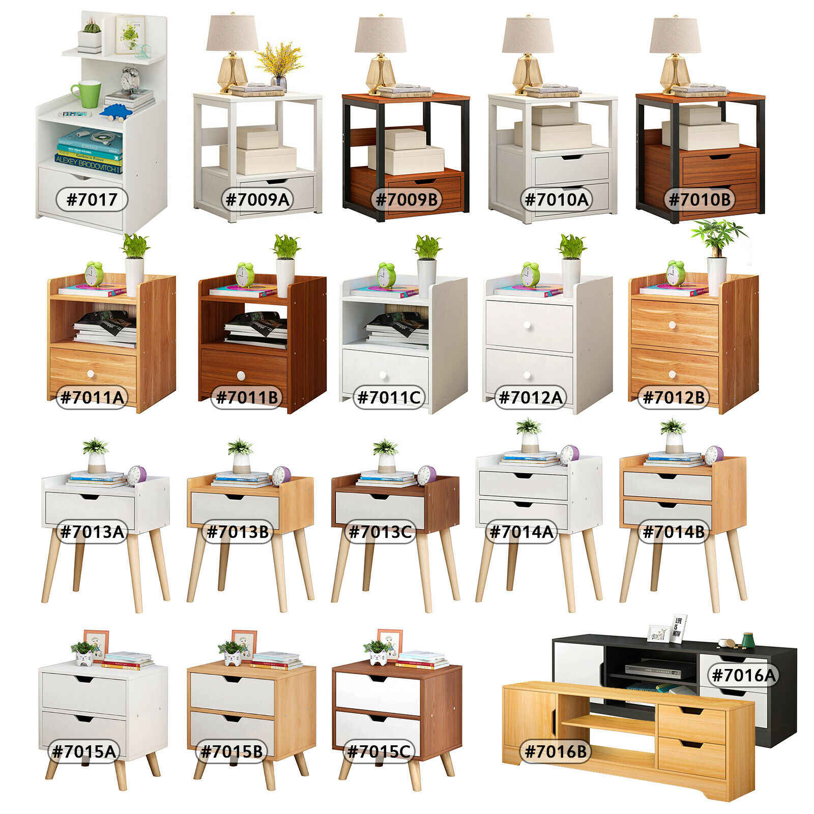 White Wooden Side End Table Nightstands With 3 Slide Out
