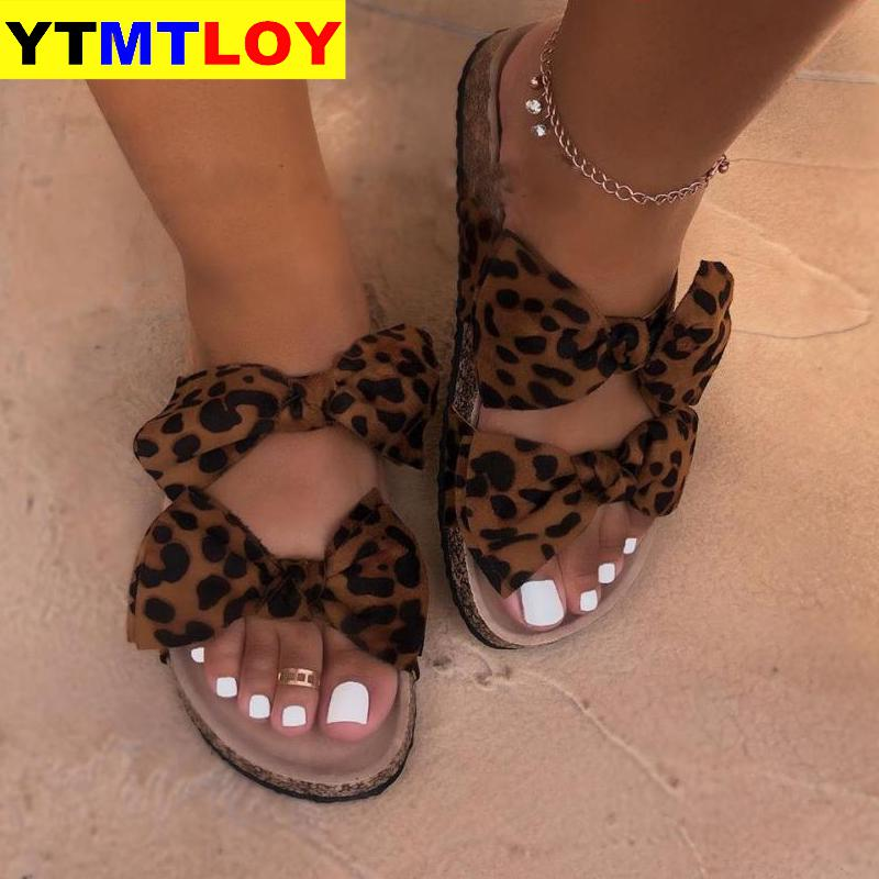 Bow Leopard Women Slipper Summer Open Toe Platform Slide Ladies Fashion Hollow Light Slip On  Sandals Woman Shoes Wedge Sandals