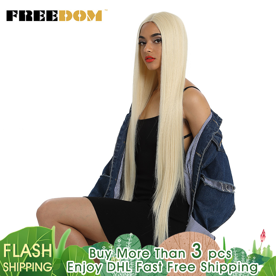 FREEDOM Synthetic Lace Front Wig For Black Women Supper Long 38Inch Ombre Blond 3 Color Natural Straight Hair Wigs Cosplay Wigs 1
