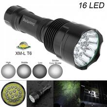 SecurityIng Waterproof Flashlight Super Bright 16x LED 5400 Lumens Torch with 5 Modes Lamp Support 18650 Rechargeable Battery waterproof 10w q5 led flashlight 1500 lumens 300m range 5 modes light support 18650 rechargeable battery