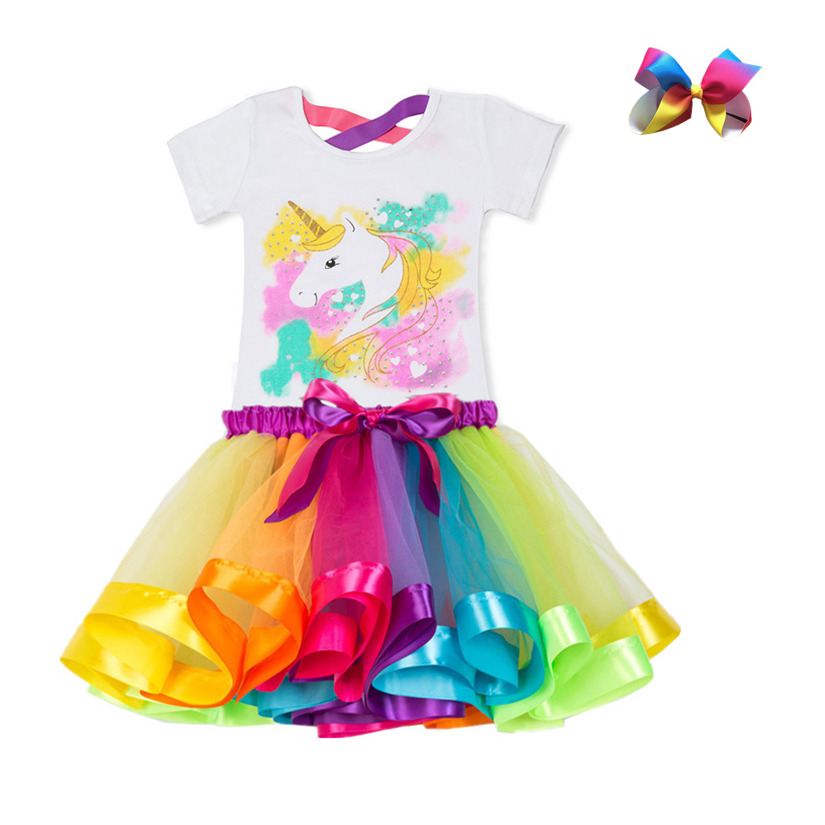 Unicorn Children's Clothing Sets Baby Girl Clothes Summer Princess Party Tutu Unicorn Costume Dress Kids Birthday Outfits Suits 3