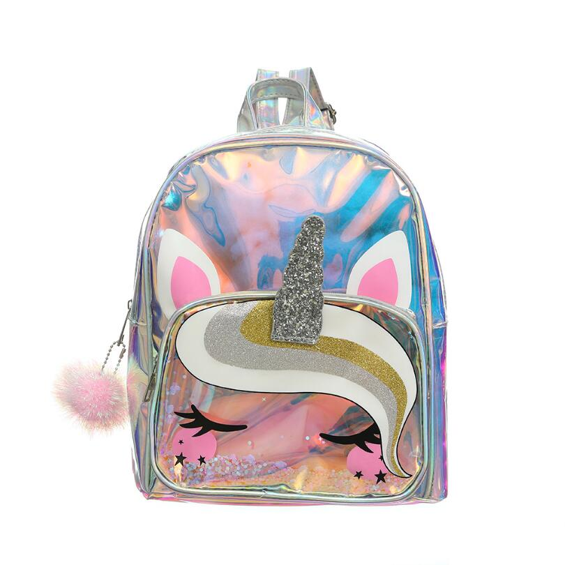 Women Laser Cartoon Unicorn Backpack Transparent PVC Sequin Glittering Clear Schoolbag Girl Waterproof Holographic Bag Wholesale