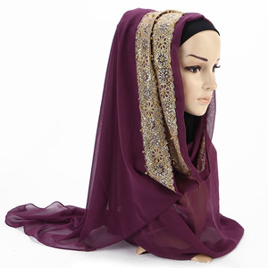 Image 3 - 2020 New Summer Islamic Muslim Rhinestone Lace Flower Scarf Shawl Hijab Women Solid Color Bubble Chiffon Turban Headband Scarves