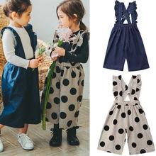 Denim Overalls Autumn Bib Toddler-Strap Girl Kids Cool New Sleeveless Print Summer Dots