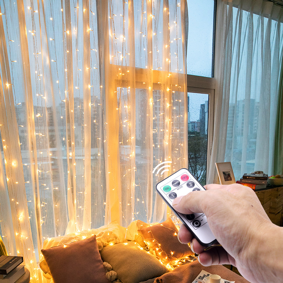 3M LED Curtain Lamp Warm White Multi-color String Lights Remote Control USB Fairy Light Garland Bedroom Home Decorative Lighting