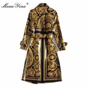 Image 4 - MoaaYina ファッションウインドブレーカーオーバーコート秋冬レディースロングスリーブヴィンテージプリントレースアップ暖かい外套