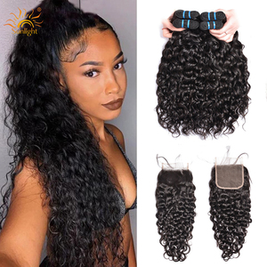 Image 1 - Water Wave Bundles With Closure Brazilian Hair Weave Bundle Sunlight Non Remy Lace Closure Human Hair 4 / 3 Bundles With Closure