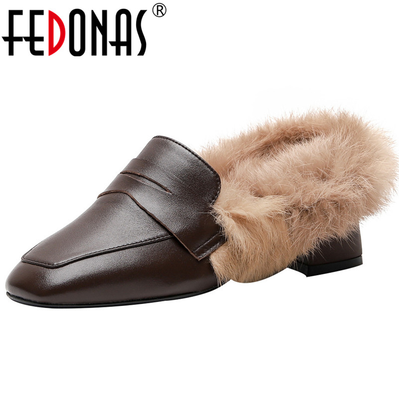 FEDONAS Female New Party Casual Shoes Woman 2020 Winter Warm Plush Women Shallow Pumps Genuine Leather Brand Loafers High Heels
