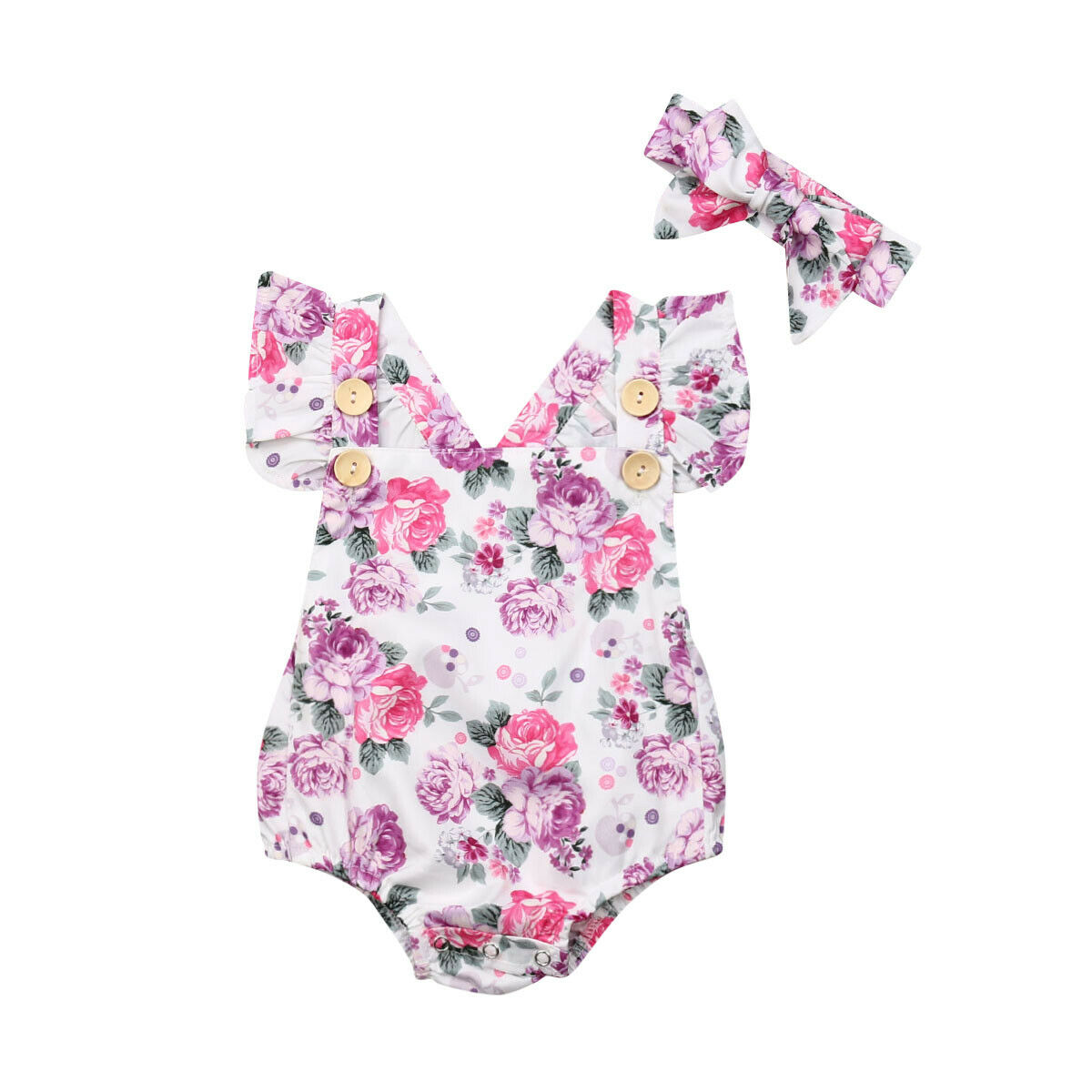 Ruffled Short Sleeve Baby Floral Bodysuit With Headband For Baby Girl