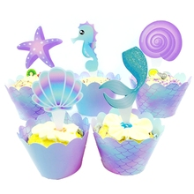 Little Mermaid Princess Theme Birthday Party Wedding Decoration Cupcake Wrappers Cake Toppers Popcorn Box Tray Banner Bunting