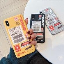De moda DHL patrón teléfono caso para Samsung Nota 10 plus 9 S7 S8 S9 S10 E A30 A50 A70 A80 S10 más suave de la contraportada casos Coque