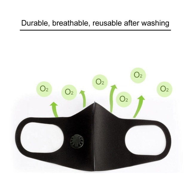 PM2.5 Black Mouth Mask Anti Dust Mask Activated Carbon Filter Windproof Mouth-muffle Proof Flu Face Masks Care Unisex 2