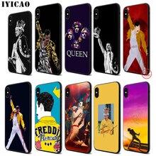 купить IYICAO Queen Freddie Mercury Soft Black Silicone Case for iPhone 11 Pro Xr Xs Max X or 10 8 7 6 6S Plus 5 5S SE по цене 103.56 рублей