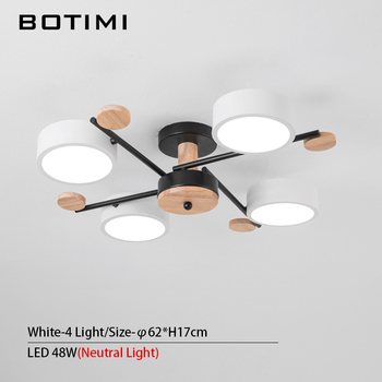 BOTIMI Indoor LED Chandelier For Master Bedroom Modern Wooden Study Room Lustres Ceiling Mounted Living Room Chandeliers 10