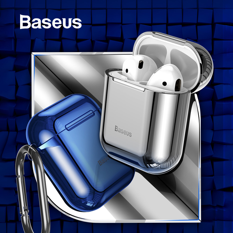 Baseus Glossy Shining Plating Case For AirPods 2 1 Portable Earphone Protect Case For Air Pods 2019 With Anti-lost Sport Hook