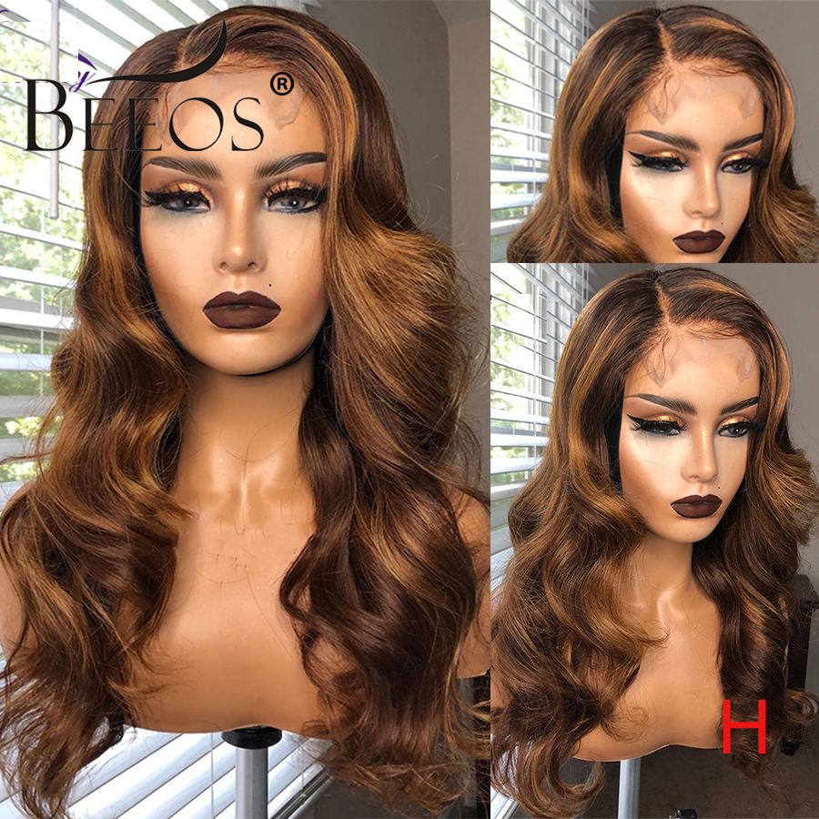Beeos Brazilian Body Wave Remy Hair 13*6 Deep Part Lace Front Wig 180% Honey Blonde Color Pre Plucked Bleached Knots Lace Wigs