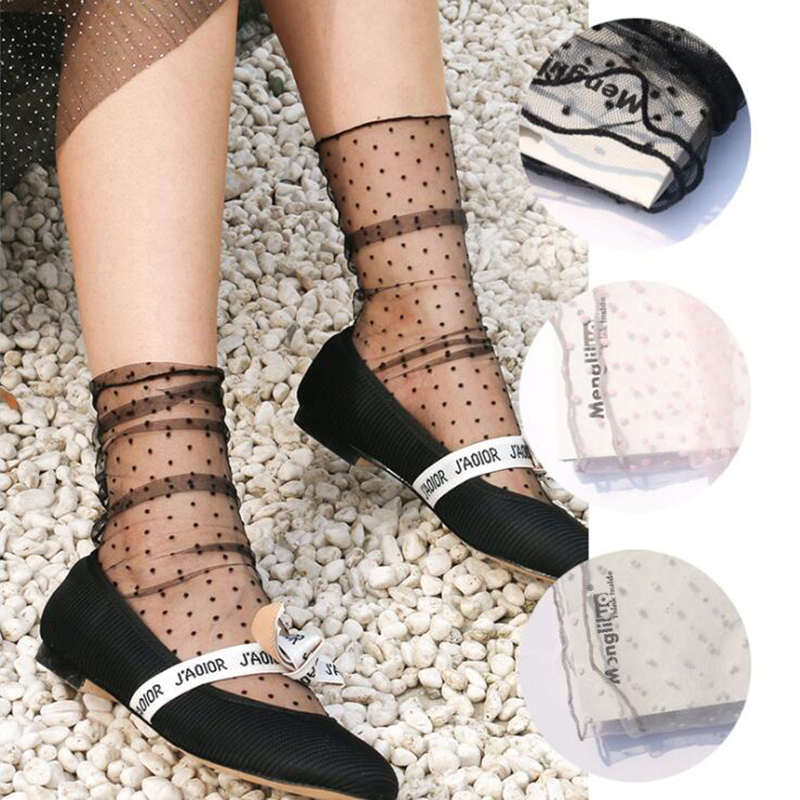 Fashion Dot Tulle Socks Women Transparent Thin Long Socks Knee Chiffon Funny Socks Female Dress Sock Streetwear Calcetines Mujer