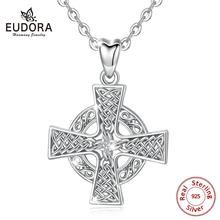 Eudora 925 sterling silver Cross Pendant Necklace Christian Cross Design Necklaces Fine  Jewelry Fashion Gift for Women D464 stylish christian cross w eye style decoration pendant necklace silver