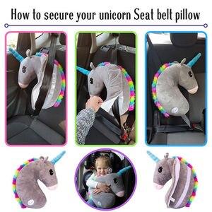 Image 3 - תינוק ילד נסיעות Unicorn כרית ילדי ראש צוואר תמיכת להגן על רכב חגורת בטיחות כרית כתף בטיחות רצועת חמוד בעלי החיים כרית