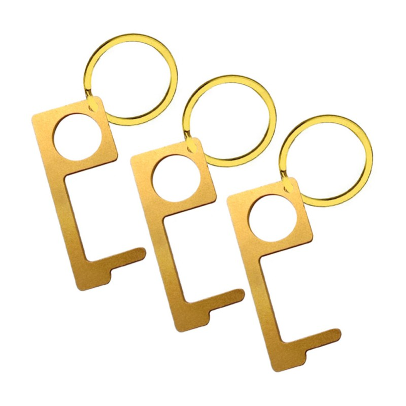 Door Opener Hygiene Hand No-Touch Brass Key Tool Non-Contact Keychain Tool For Outdoor Public, Keep Hands Clean Home Accessories