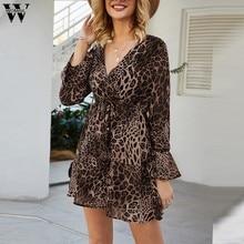 Womail estampado de leopardo Mujer vestido de manga acampanada Sexy vestidos informales para señoras cuello pico manga larga Elegent gran oferta vestido Lindo vestido