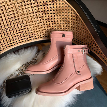 2019 Autumn Shoes Women Martin Boots Fashion Brand Female Boots Front Zip Patent Leather Ladies footware botas mujer All Match