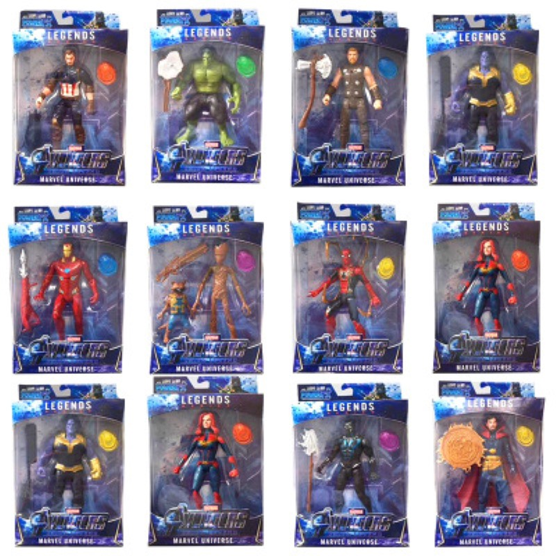 NEW LED Thanos Kids Marvel Captain America Thor Iron Man Spiderman Hulk Avengers Action Figure Toys Model Doll