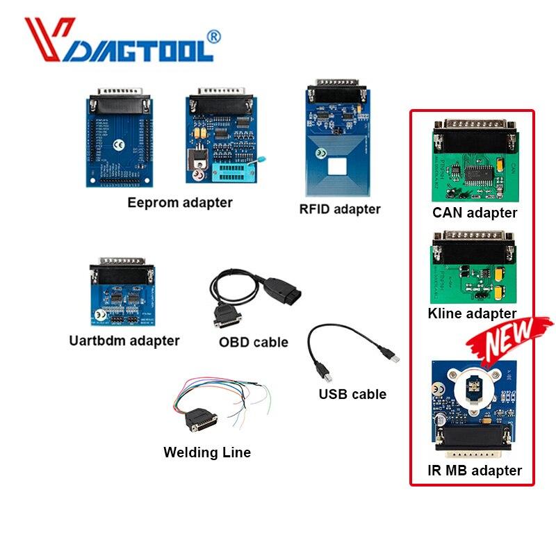 Iprog+ Key Programmer Support IMMO + Mileage Correction + Airbag Reset Iprog Pro Extar Kline &CAN Adapter MB IR Welding Line