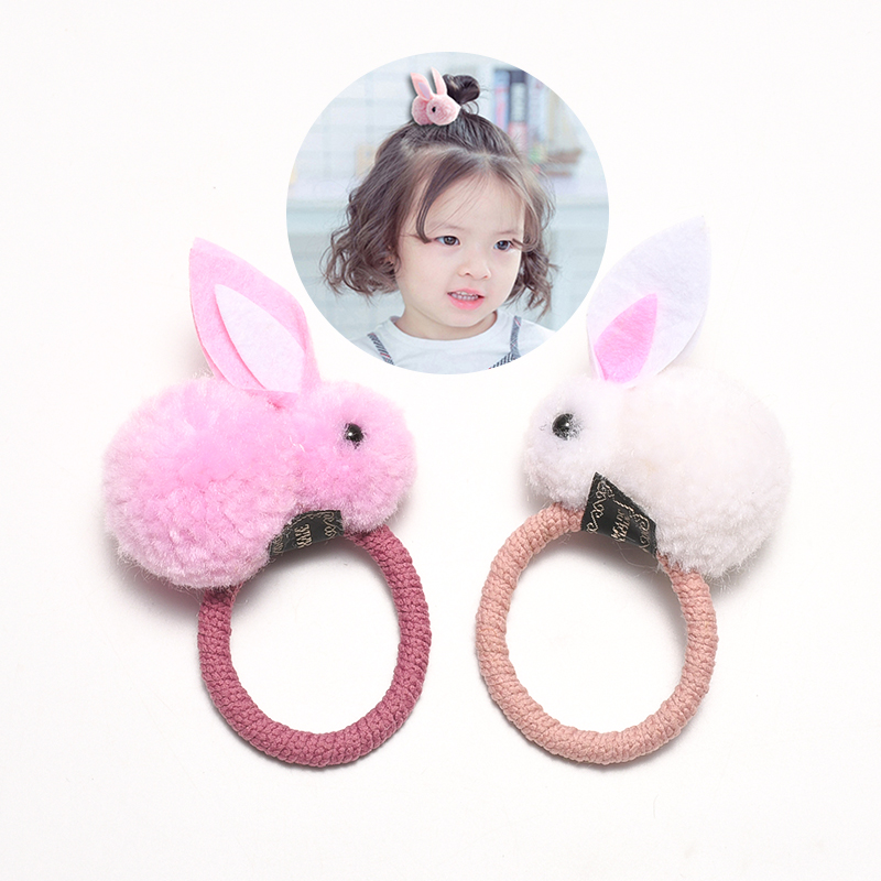 Cute Children Bunny Rubber Band Girls Head Rope Korean Hair Accessories Hair Circle Girl Elastic Ring Ponytail Hair Clip