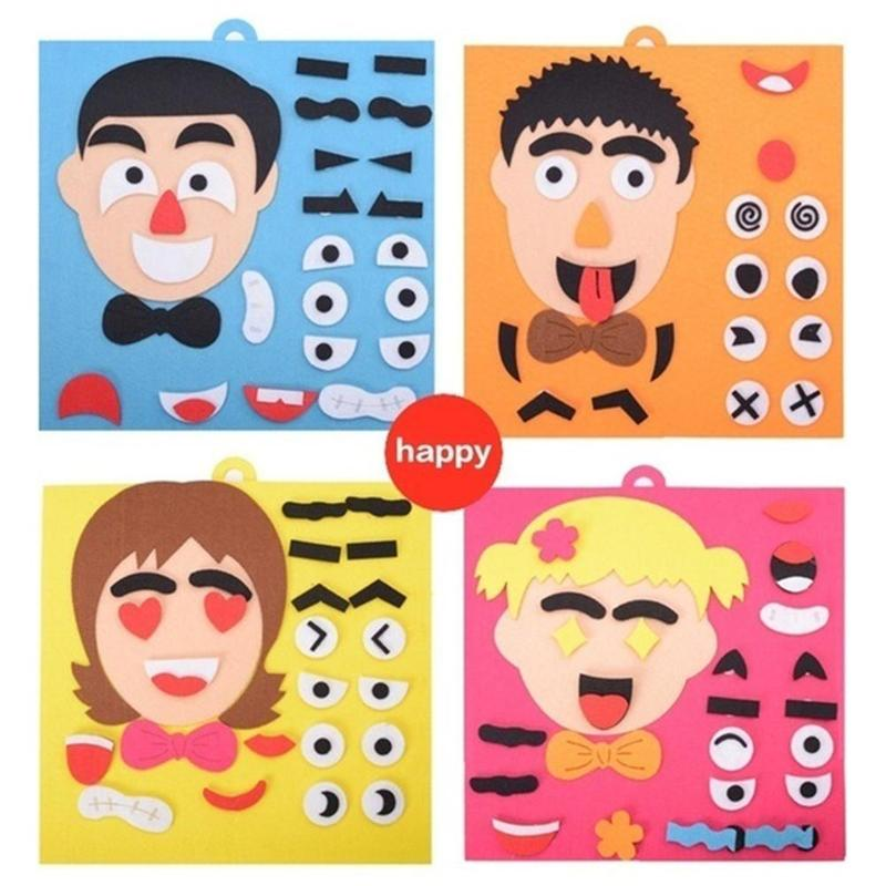 Kindergarden DIY Facial Expressions Handicraft Toys Felt Fabric Handmade Stickers Emotion Change Teaching Aids Educational Toys