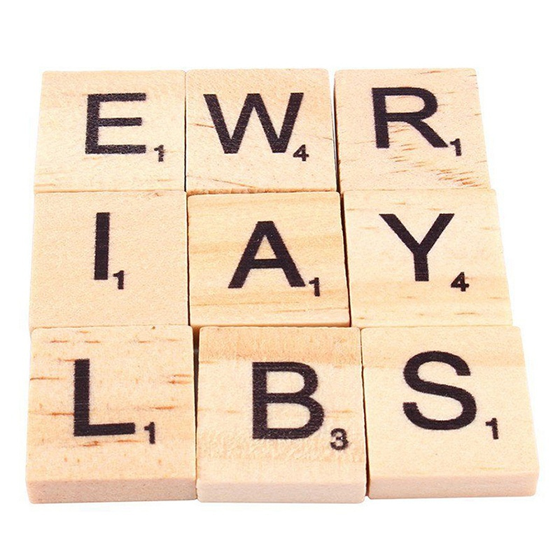 100 Pcs Wood Scrabble Tiles Letter Alphabet Scrabbles Number Craft English Words TP899