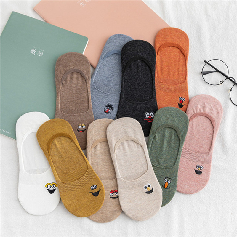 1 Pair Of Pure Cotton Expression Pattern Women's   Socks Comfortable And Breathable In Summer Women's   Pure Cotton Socks