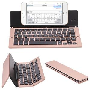 Portable Aluminum Folding Blueteeth Keyboard Foldable Compatible most of tablets and smart phones Natural and Small 1014