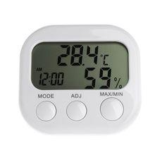 цена на Digital LCD Thermometer Humidity Meter Hygrometer Max Min Air Temperature Clock  G6KA