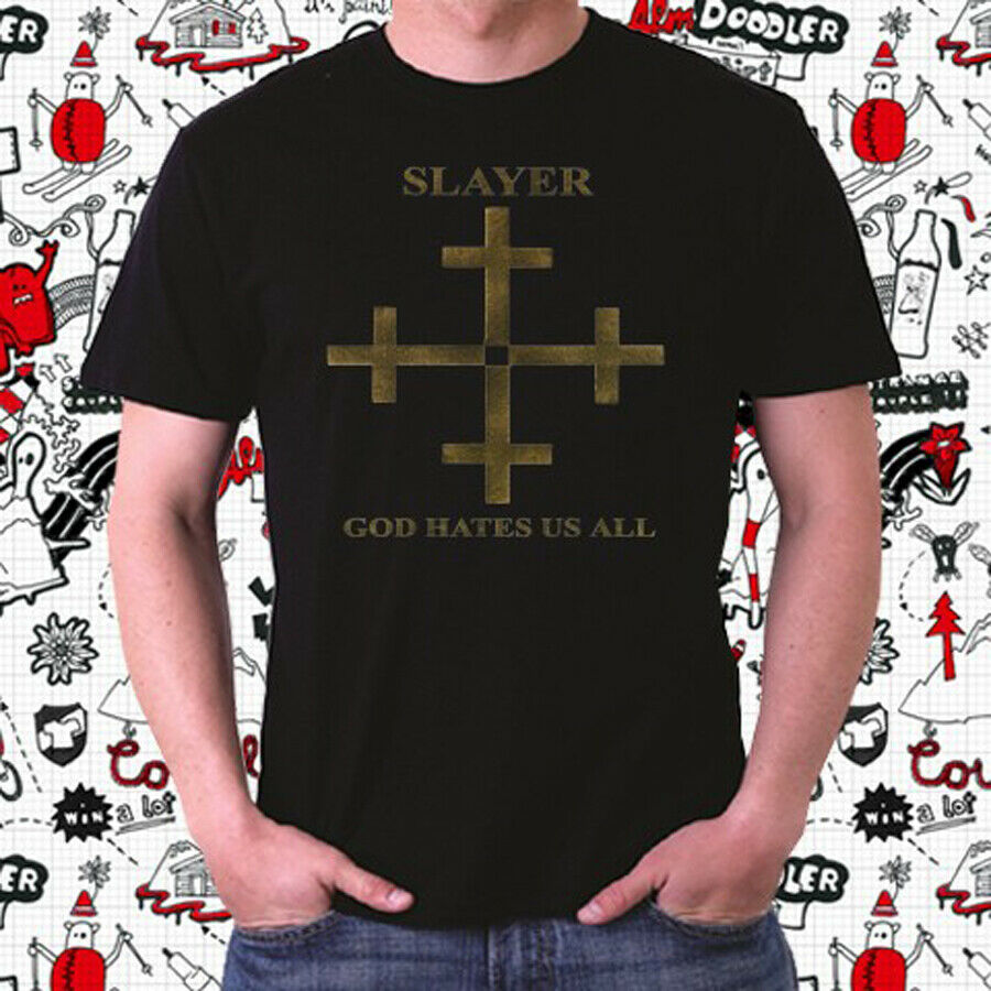 Slayer God Hates Us All Album Cover Logo Men's Black T-Shirt Size S To 3XL image