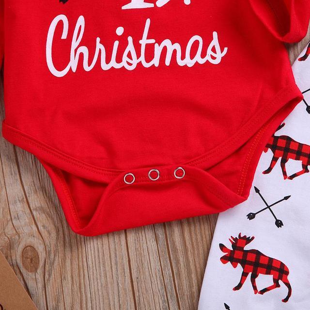 Boże narodzenie dziewczynka ubrania noworodka moje pierwsze święta Romper renifer cekiny spodnie sukienka z pałąkiem na głowę maluch dzieci 3 sztuk zestaw odzieży