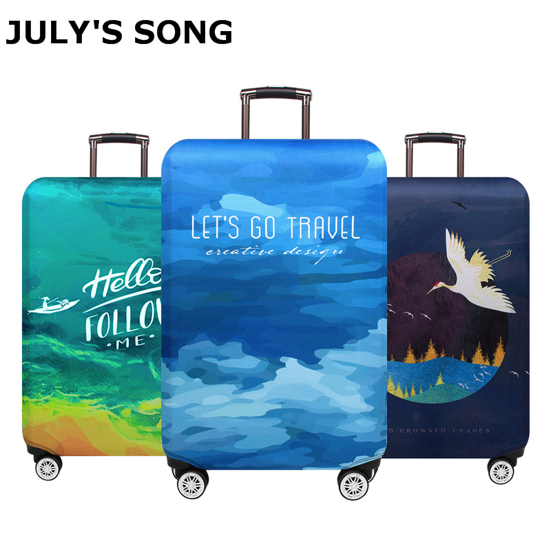 JULY'S SONG Trolley Luggage Protctive Covers Travel Suitcase Case Elastic Suitcase Protective Covers For 18-32 Inch Luggage Case