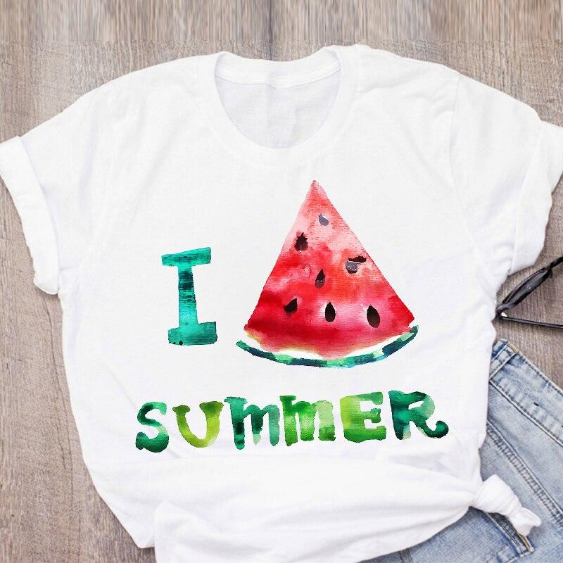 Women Graphic Watermelon Pineapple Printed Fruit Short Sleeve Summer Lady Tops T-Shirt Shirt Womens Clothing Tee Female T Shirt