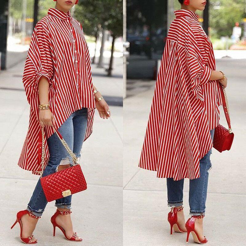Women Fashion Blouse Loose Half Sleeve Casual Blouse Shirt Strip Tops Stylish Ladies Stripe Asymmetric Baggy Shirts