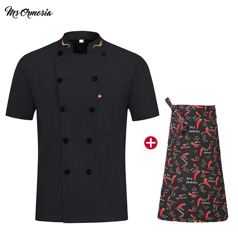 Short Sleeve Chef Jacket Hotel Chef Uniform Restaurant Waiter Kitchen Uniform Cooking Clothes Sushi Costume Cooking Apron+hats