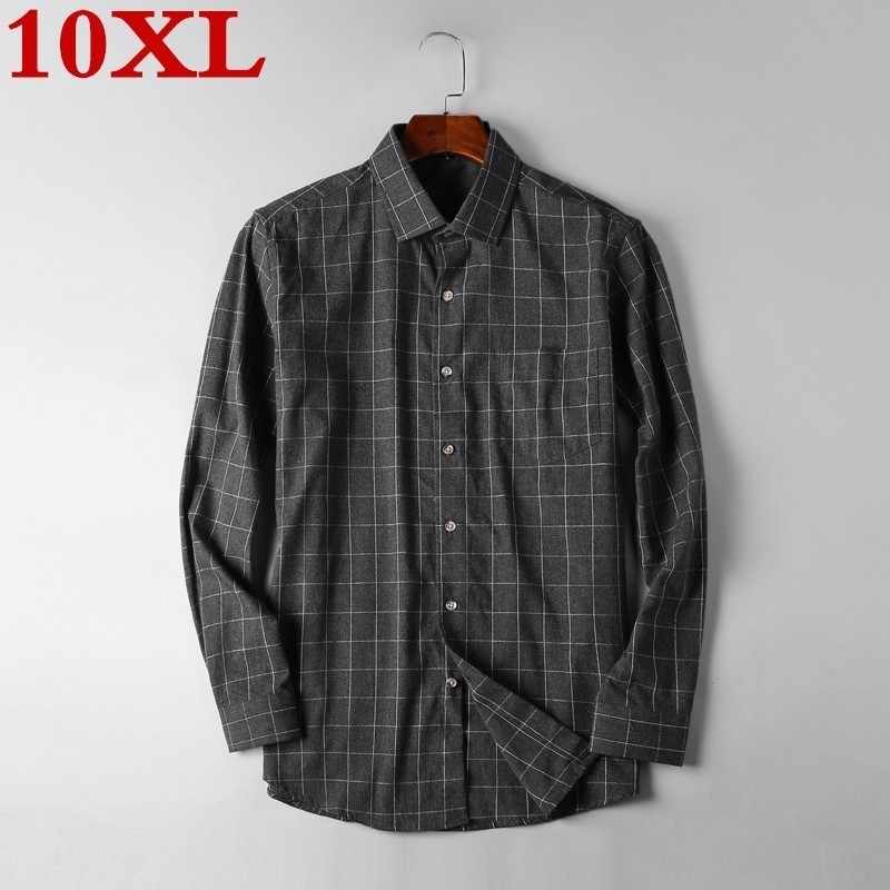 Plus Size 10XL 9X Mannen Plaid Button-Down Shirt Borst Pocket Smart Casual Classic Contrast Standaard-Fit lange Mouwen Dress Shirts