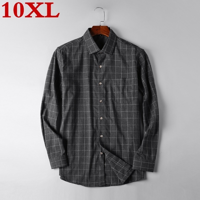Plus Size 10XL 9X Men's Plaid Button-down Shirt Chest Pocket Smart Casual Classic Contrast Standard-fit Long Sleeve Dress Shirts