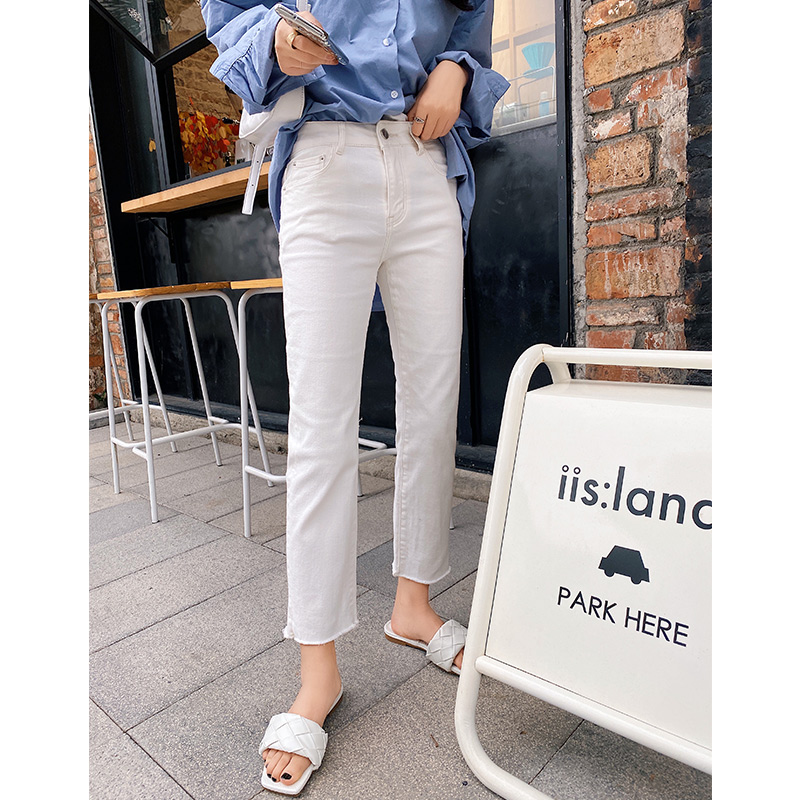 Mishow 2020 Spring New Jeans Women White Demin Cotton Straight Tousers Fashion Female High Waist Pants MX20A2395