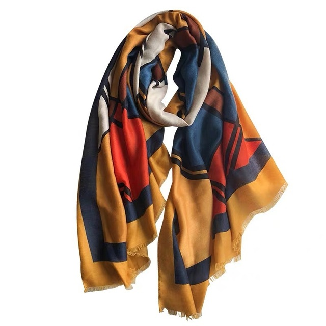New 2020 Hijab Scarves Femme Fashion Plaid Print Cotton Scarf Women Luxury Brand Winter Shawl Bandana Foulard Pashmina Poncho 5