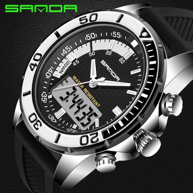 Heren Horloge Merk Sanda Esporte Duiken Display Led Moda Casual Rubber Band Mannen Montre Homme Relógio