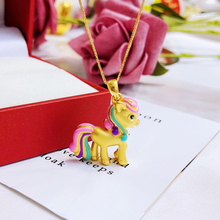 KOFSAC Cute 925 Sterling Silver Pendant Necklace For Girl Birthday Fashion Jewelry Rainbow Golden Horse Women