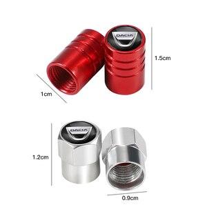 Image 2 - 4 pçs tampões de válvula de pneu de carro de alumínio válvula de ar do pneu para dacia duster logan sandero lodgy stepway mcv 2 acessórios