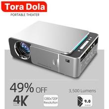 TORA DOLA 1280×720P LED Projector T6,Portable 3D Video Cinema Projecto